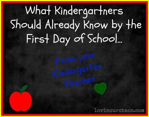 What Kindergartners Should Already Know on the First Day of School