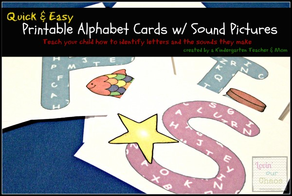 Quick & Easy Printable Alphabet Cards with sound pictures to learn alphabet letters & sounds