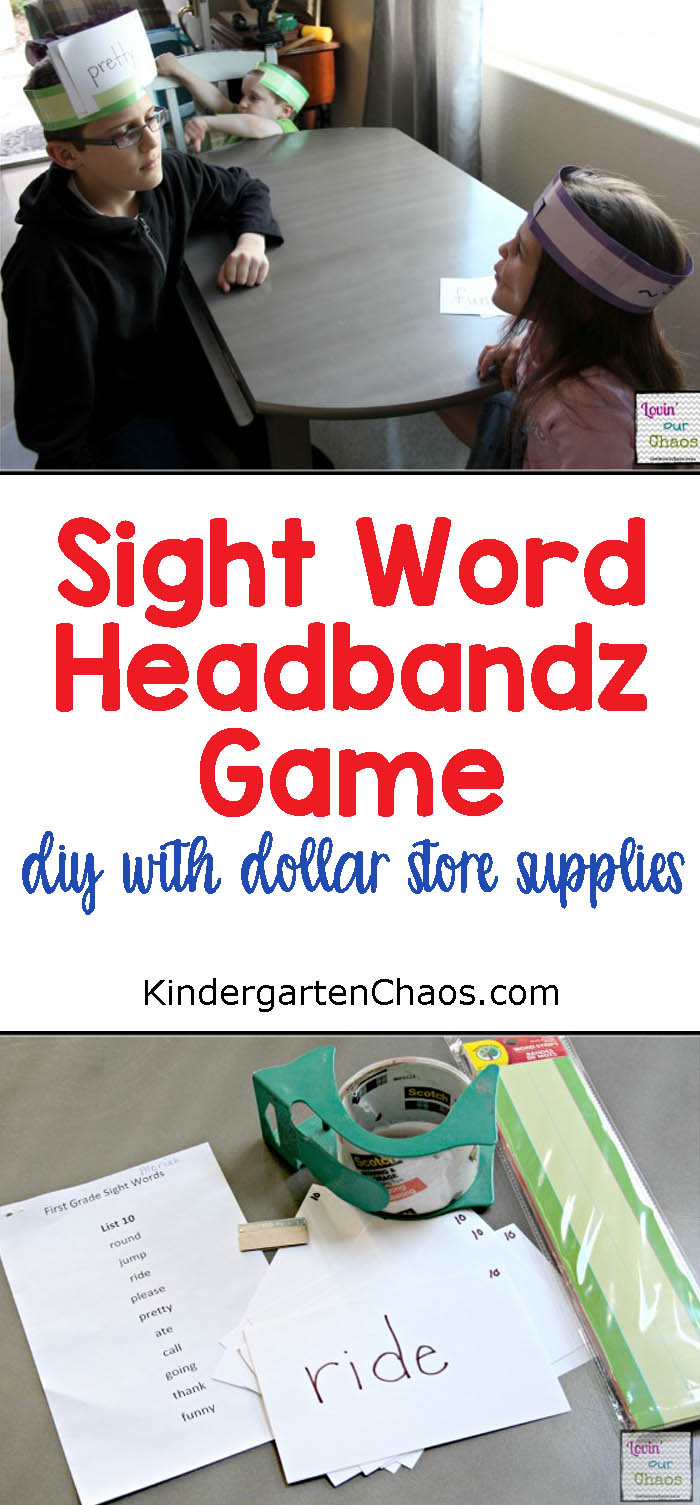 Sight Word Headbandz Game: DIY With Dollar Store Supplies. A FUN way to practice sight words, especially for kids who are bored of flash cards.