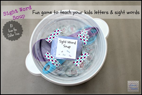 Sight Word Soup Game from the Dollar Tree