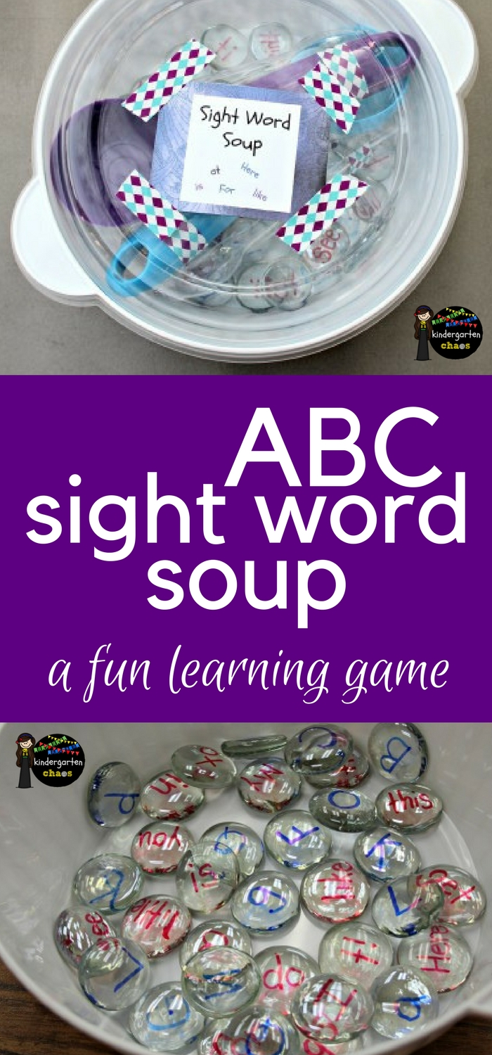 ABC Sight Word Soup - A fun alphabet & sight word classroom game with dollar store supplies. #sightwords #alphabet #classroomgame #dollarstore #handsonlearning
