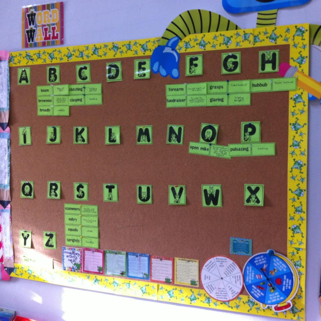 Vocabulary Word Wall in a 4th Grade Classroom