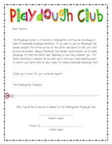 playdough club note