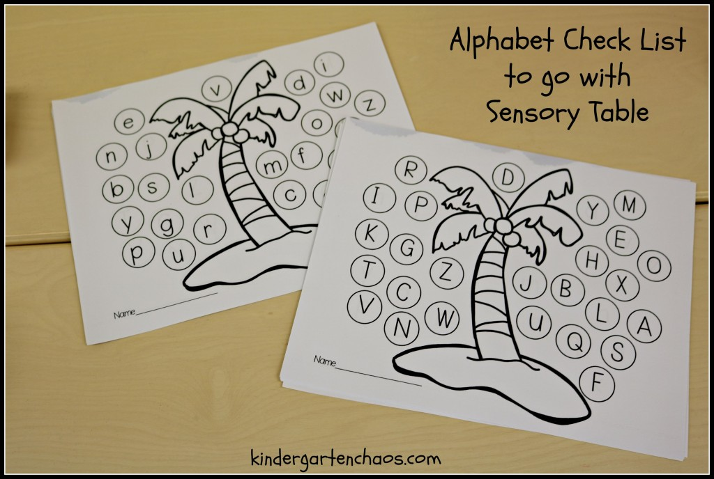 Alphabet Check List to go with Sensory Table
