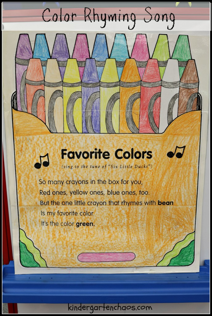 Color Rhyming Song Anchor Chart Poem