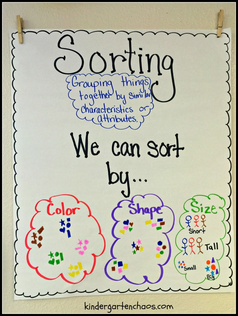Sorting anchor chart - kindergarten chaos