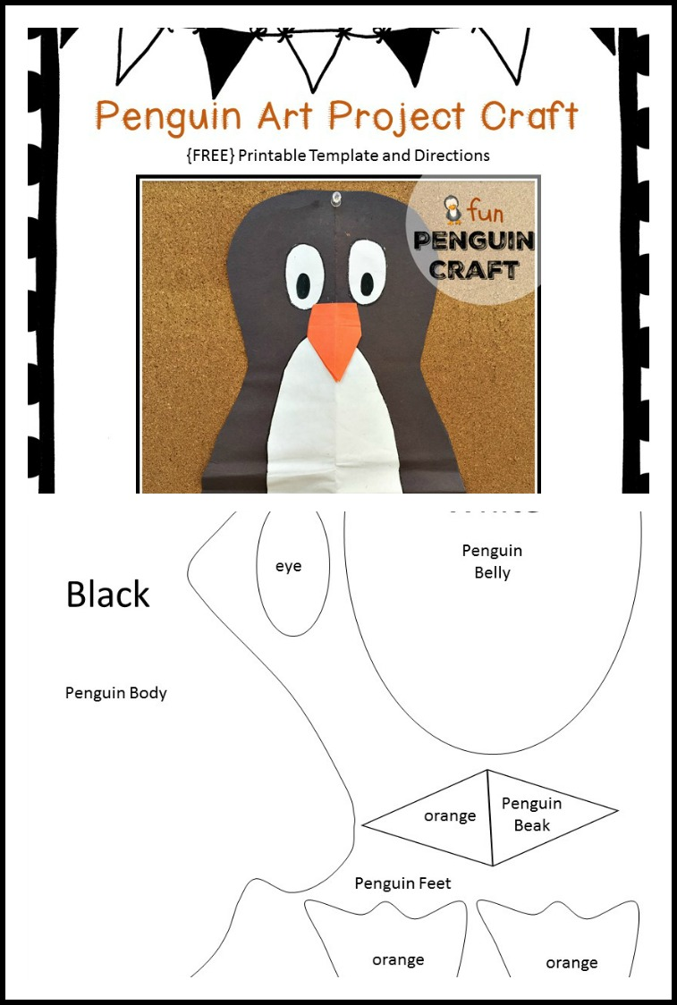Free Printable Penguin Art Project Craft Template