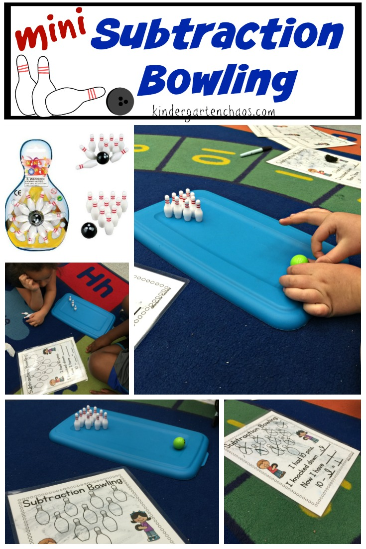 Mini Subtraction Bowling - kindergartenchaos.com