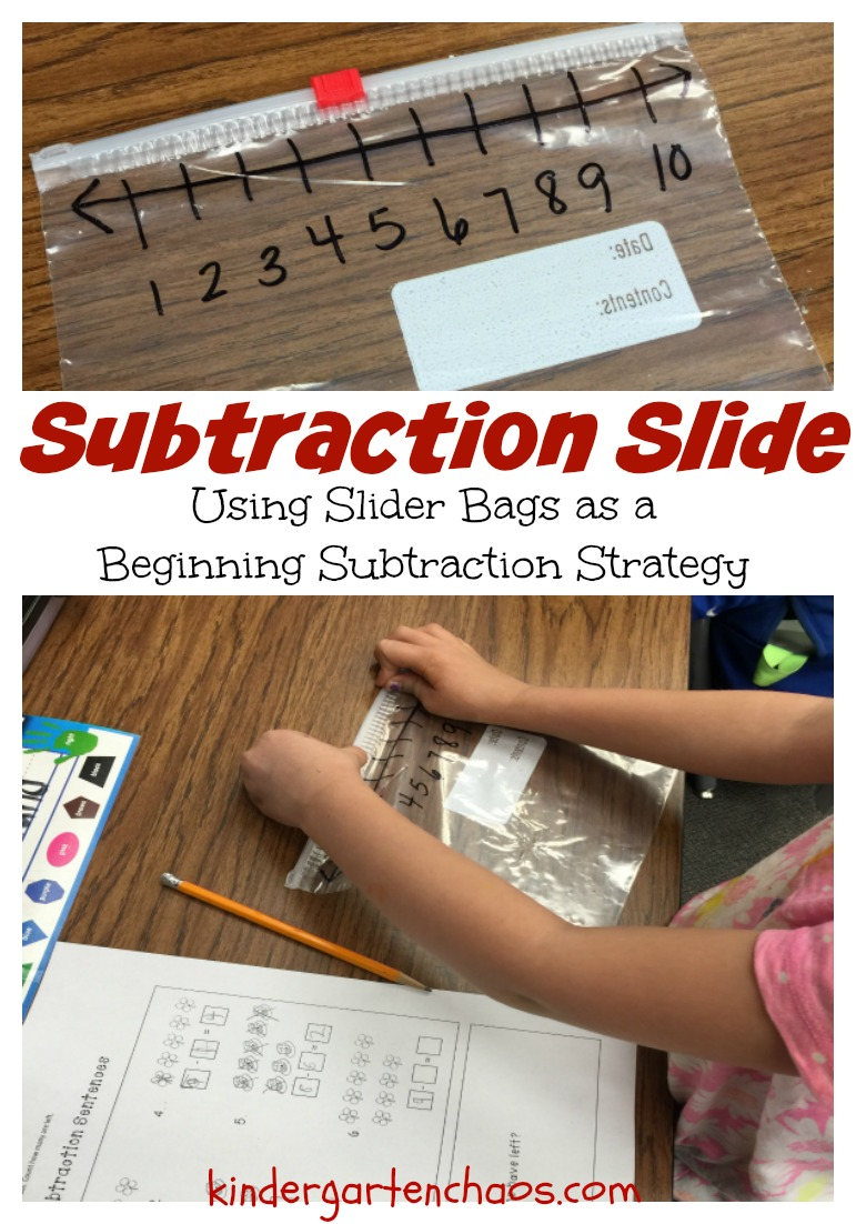Subtraction Slide - Slider Bag Strategy - kindergartenchaos.com