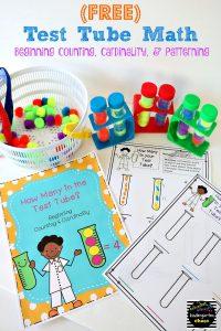 FREE Test Tube Math - counting, cardinality, patterning - kindergartenchaos.com