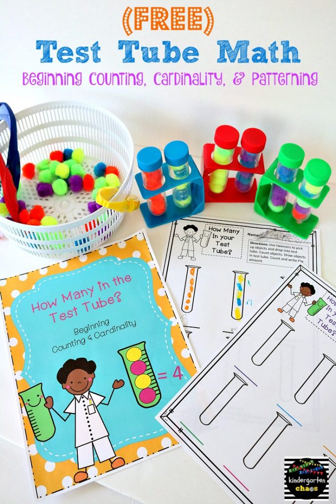 FREE Test Tube Math - counting, cardinality, patterning - kindergartenchaos.com