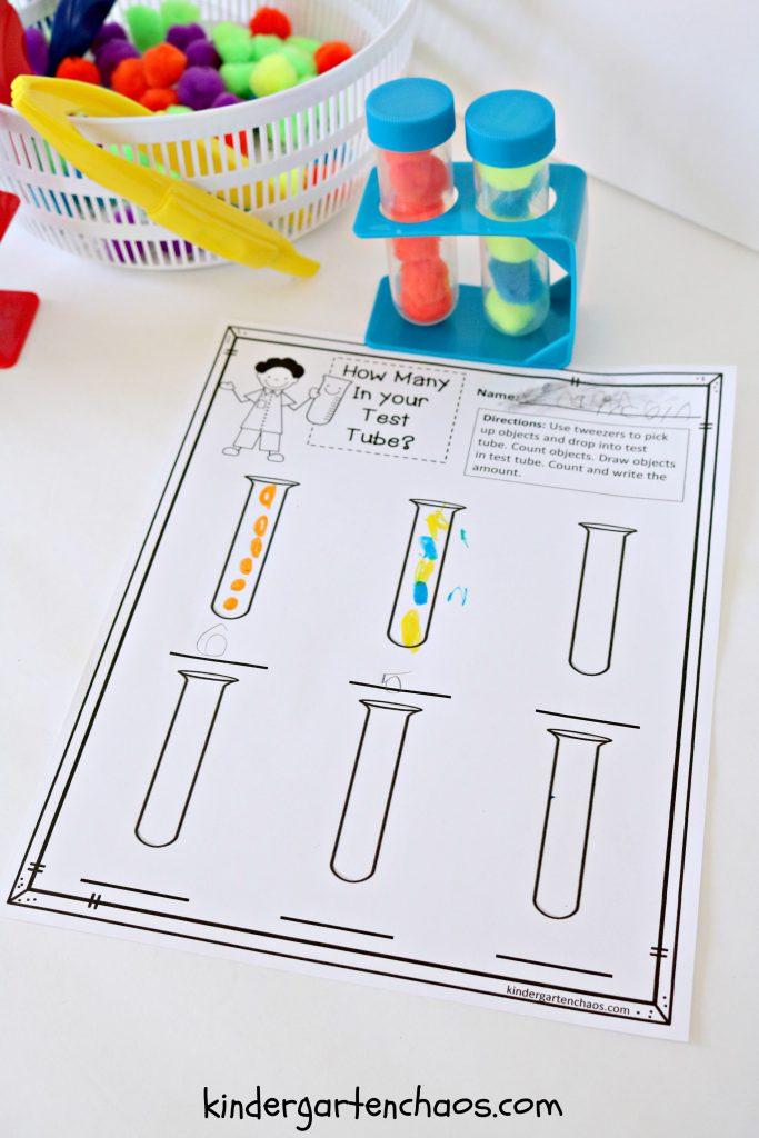 Test Tube Math Counting, Cardinality, Patterning - kindergartenchaos.com