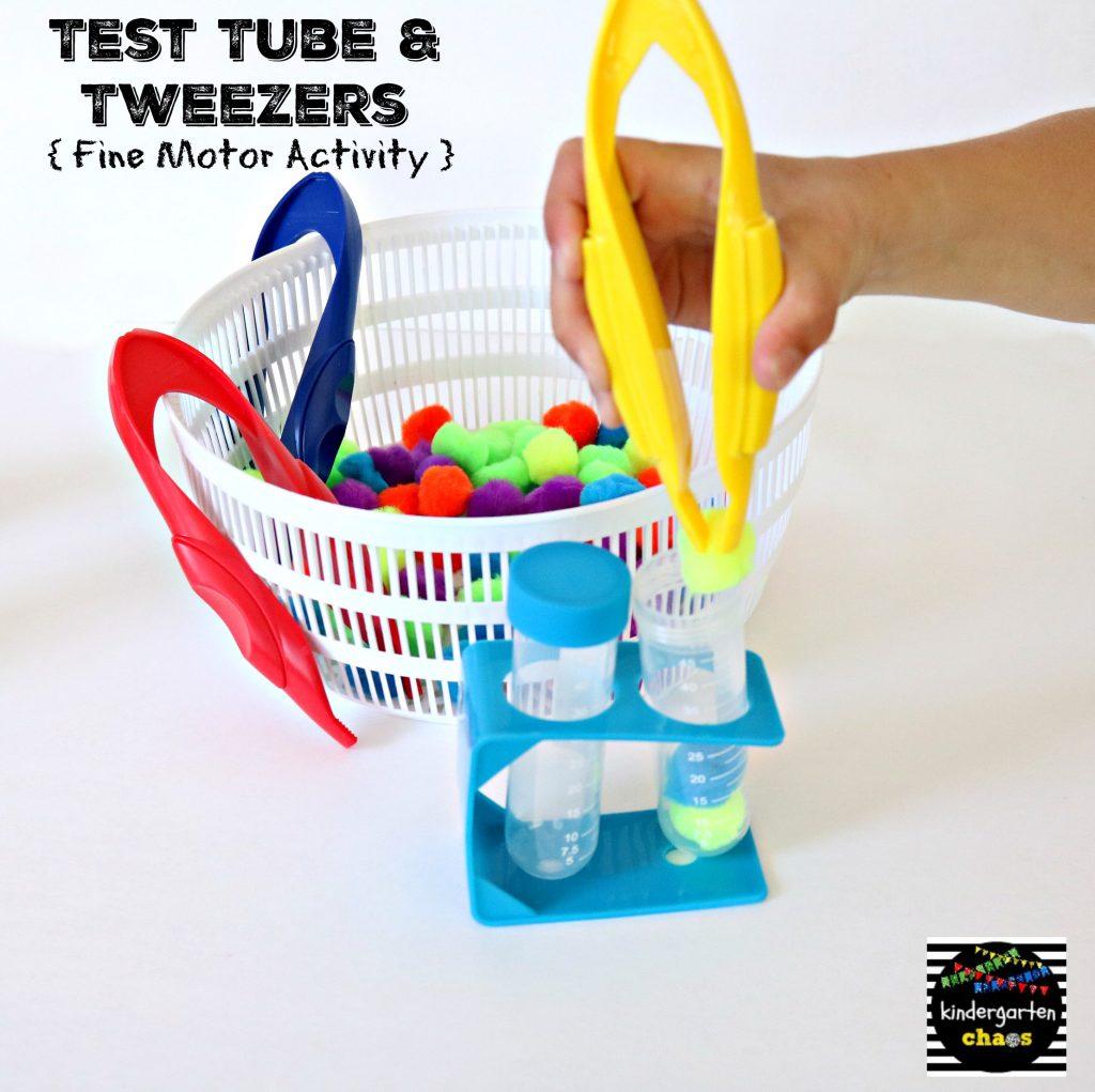 Test Tube & Tweezers Fine Motor Activity - kindergartenchaos.com