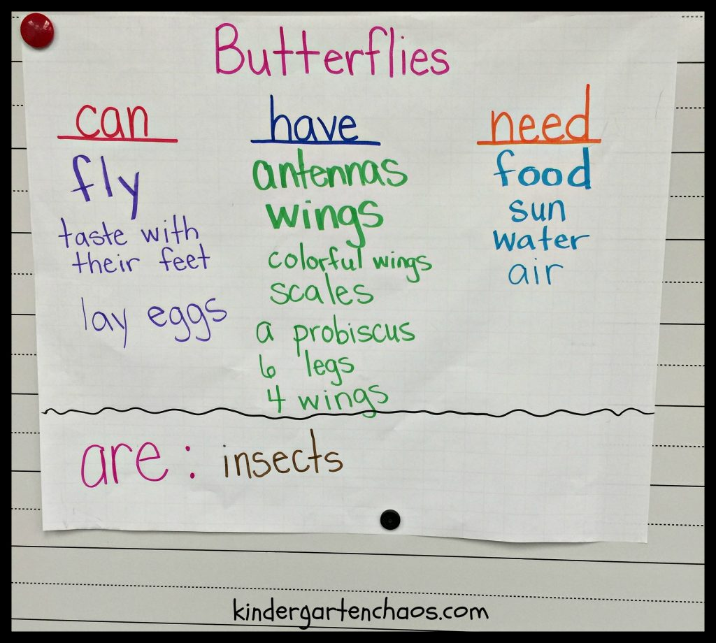 Butterfly Writing Anchor Chart - kindergartenchaos.com