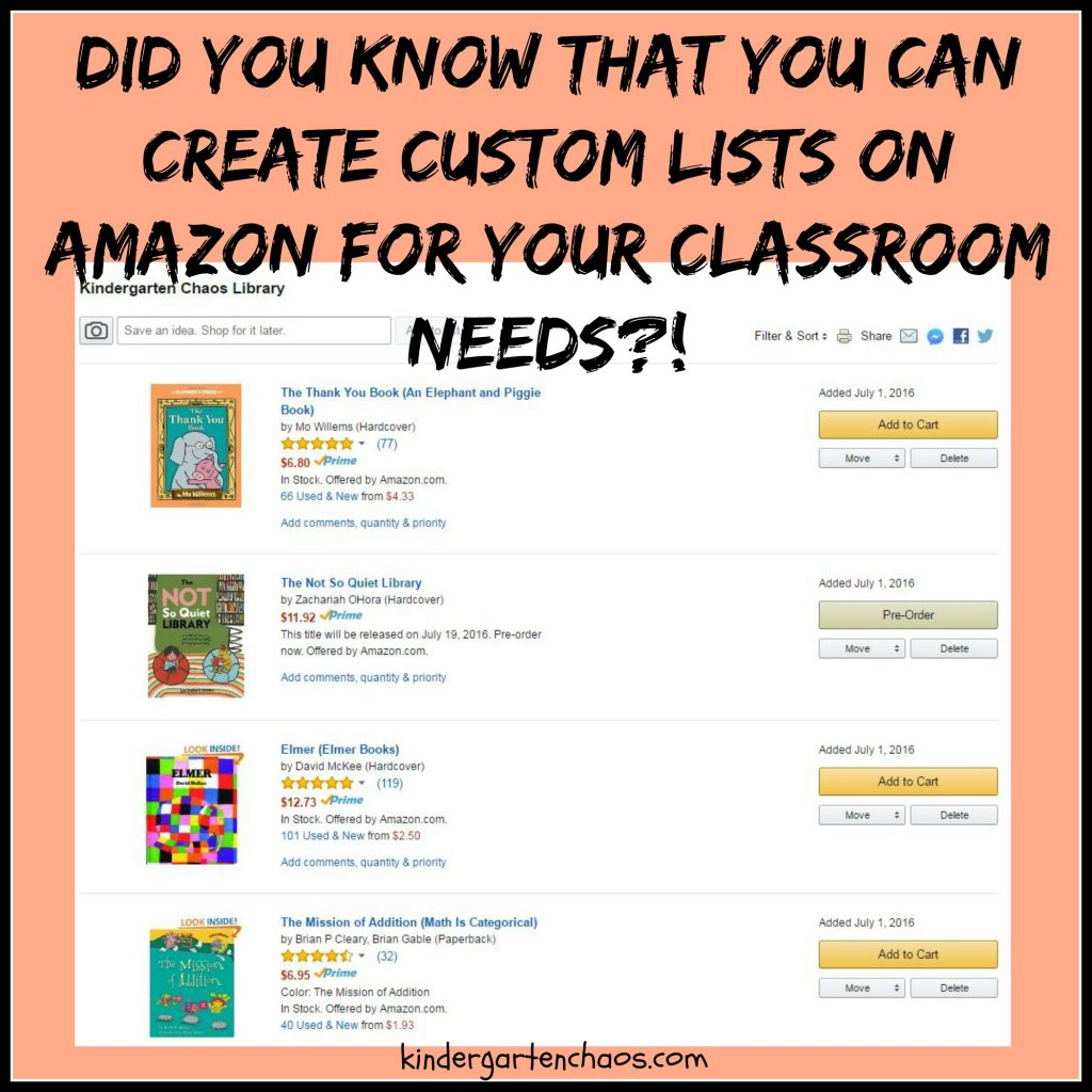 Custom Amazon Lists for your Classroom from kindergartenchaos.com