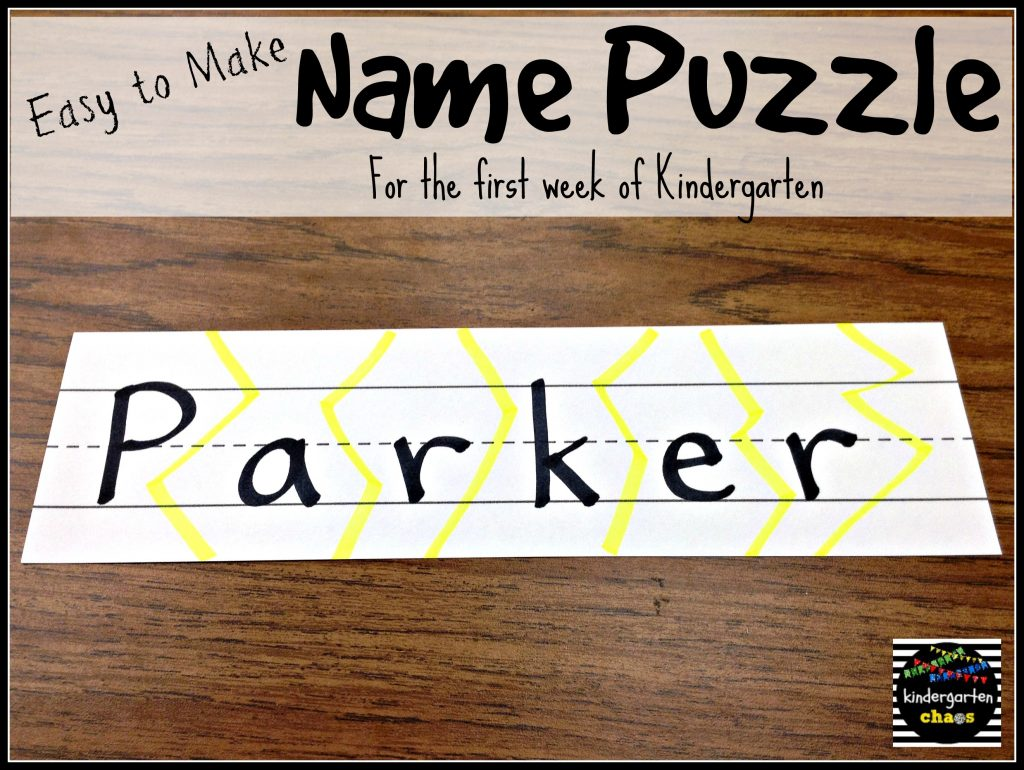 Easy to Make Name Puzzles - Name Recognition - kindergartenchaos.com
