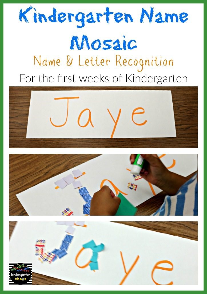 Kindergarten Name Mosaic for the First Weeks of Kindergarten - kindergartenchaos.com