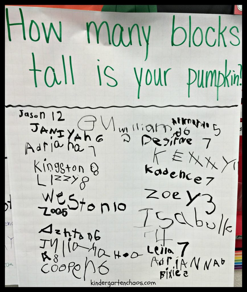 Pumpkin Height Anchor Chart - kindergartenchaos.com