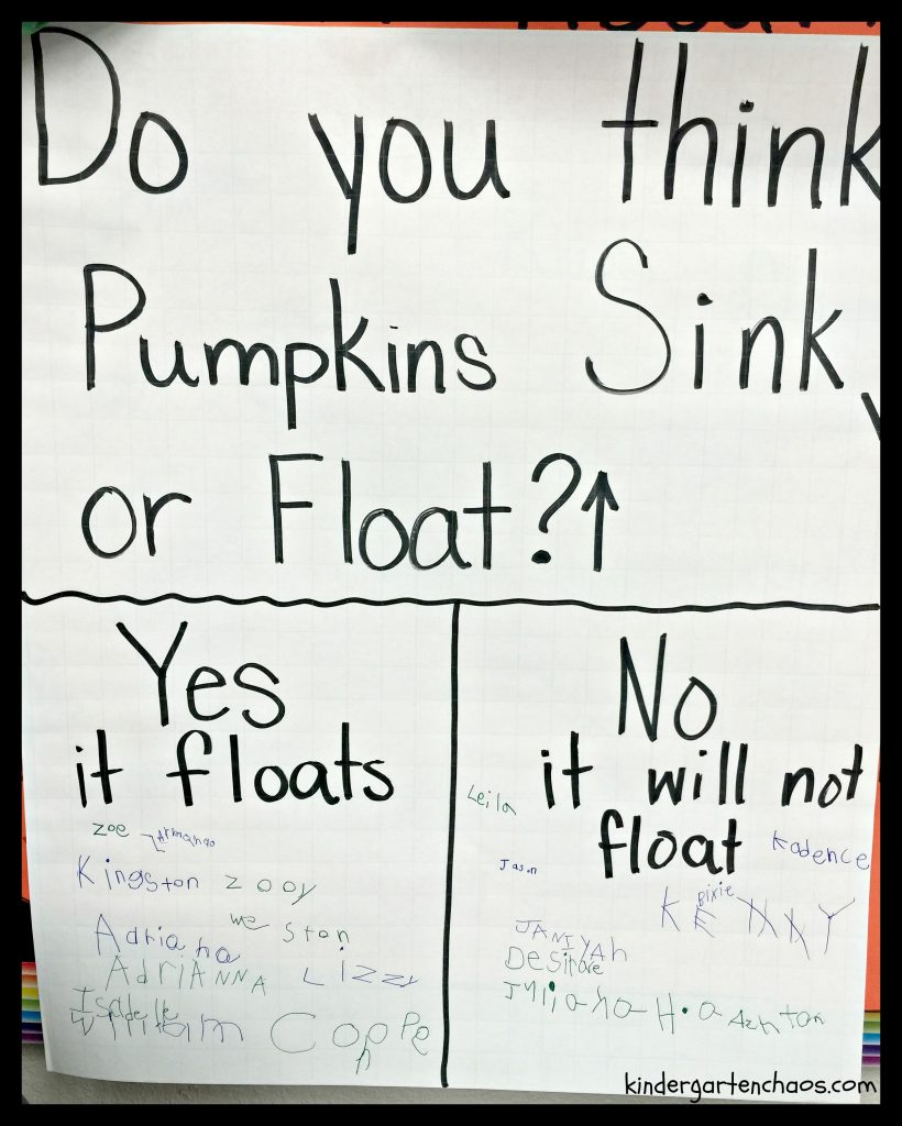 Pumpkin Sink or Float Anchor Chart - kindergartenchaos.com