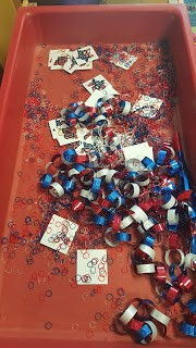 Red white blue sensory table