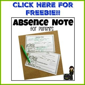 Absence Note for Parents – kindergartenchaos.com