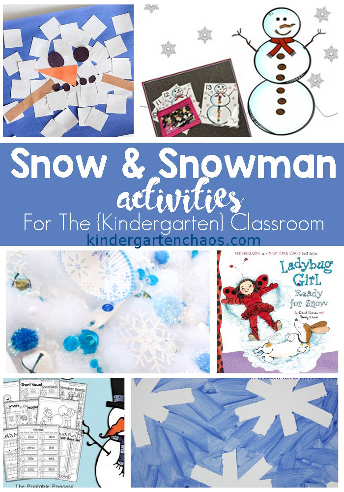 Snow & Snowman Activities For The Classroom: Activities For Kindergarten including Sensory, Books, Crafts, Printables, and Lesson Plans.