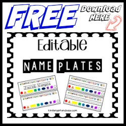 Editable Name Plates FREEBIE – kindergarten chaos