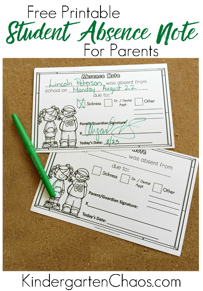 Free Printable Student Absece Note For Parents