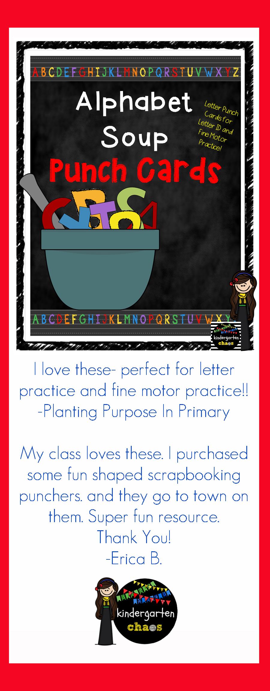These Alphabet Soup Letter Punch Cards are perfect! These printable cards are great for reiterating or introducing letters to students. They are also fantastic for integrating fine motor practice!