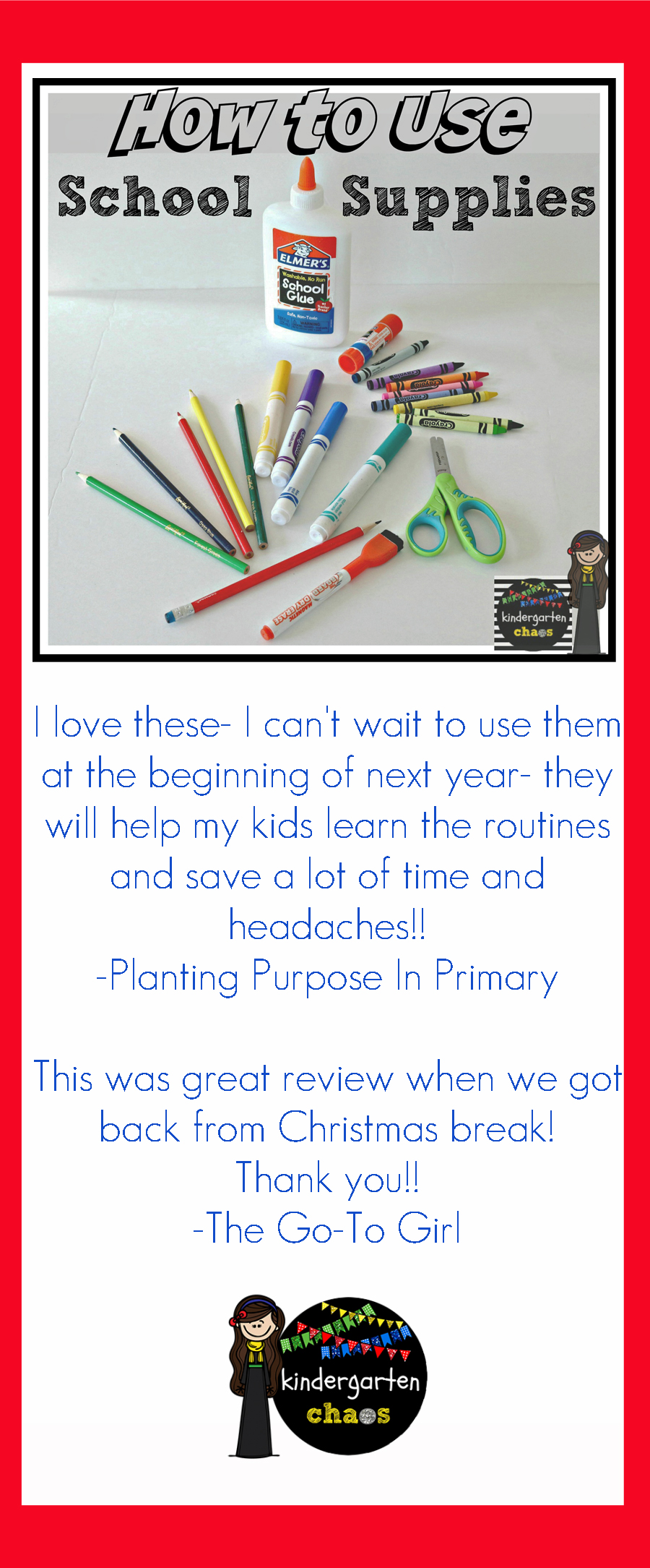 Printable Pack: How To Use School Supplies. A printable for each school supply to help kids learn how to use them properly including scissors, glue, dry erase marker, crayon, etc.