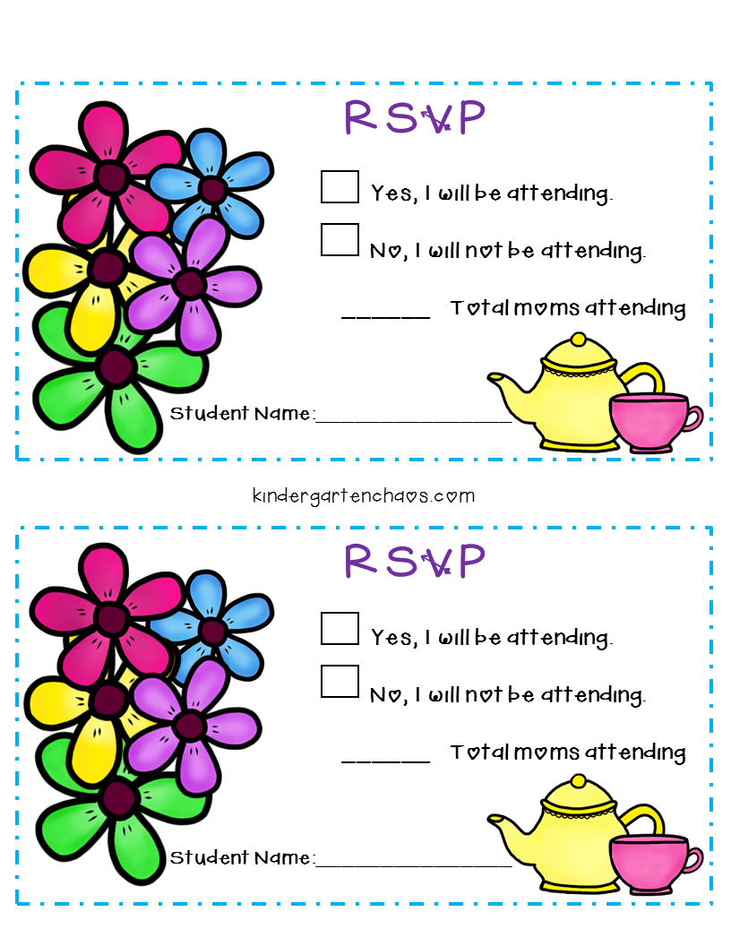 Mother's Day Tea Party Editable Invitations and RSVP Cards for a classroom Mother's Day celebration.