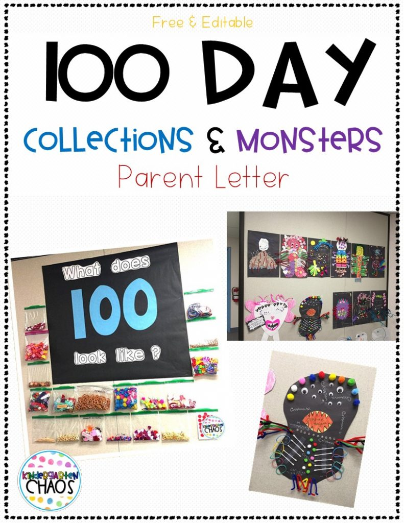 100 Day Monster - kindergartenchaos.com