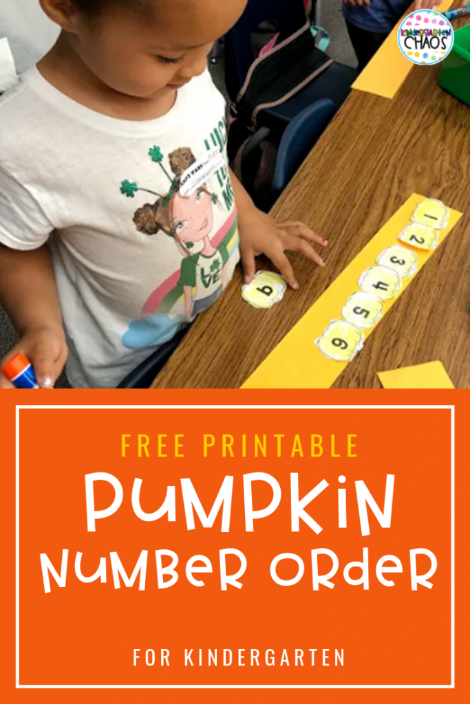 FREE PRINTABLE Number Order Activity that is perfect for the classroom this Fall. Kids will strengthen counting, scissor and coloring skills all with one activity! #pumpkin #numberorder #kindergarten #freeprintable