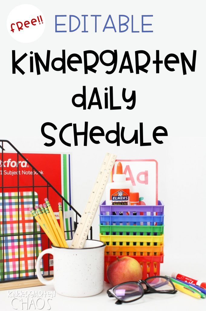 Kindergarten Daily Academic Schedule. An important tool for the classroom with a FREE PRINTABLE EDITABLE version!