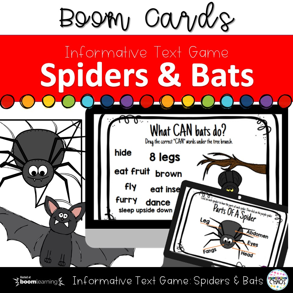 Digital Game for Kindergarteners all about Spiders and Bats full of informative text!