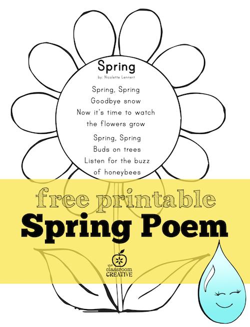 spring poem for preschool kindergarten and first grade - Spring Worksheets For Kindergarten
