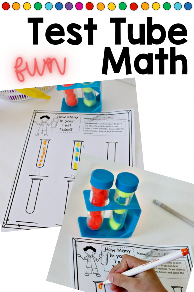 Use these fun test tubes to add a science twist to counting and numbers. Children will strengthen counting, number recognition, number formation and more. #handsonlearning #counting #kindergartenmath