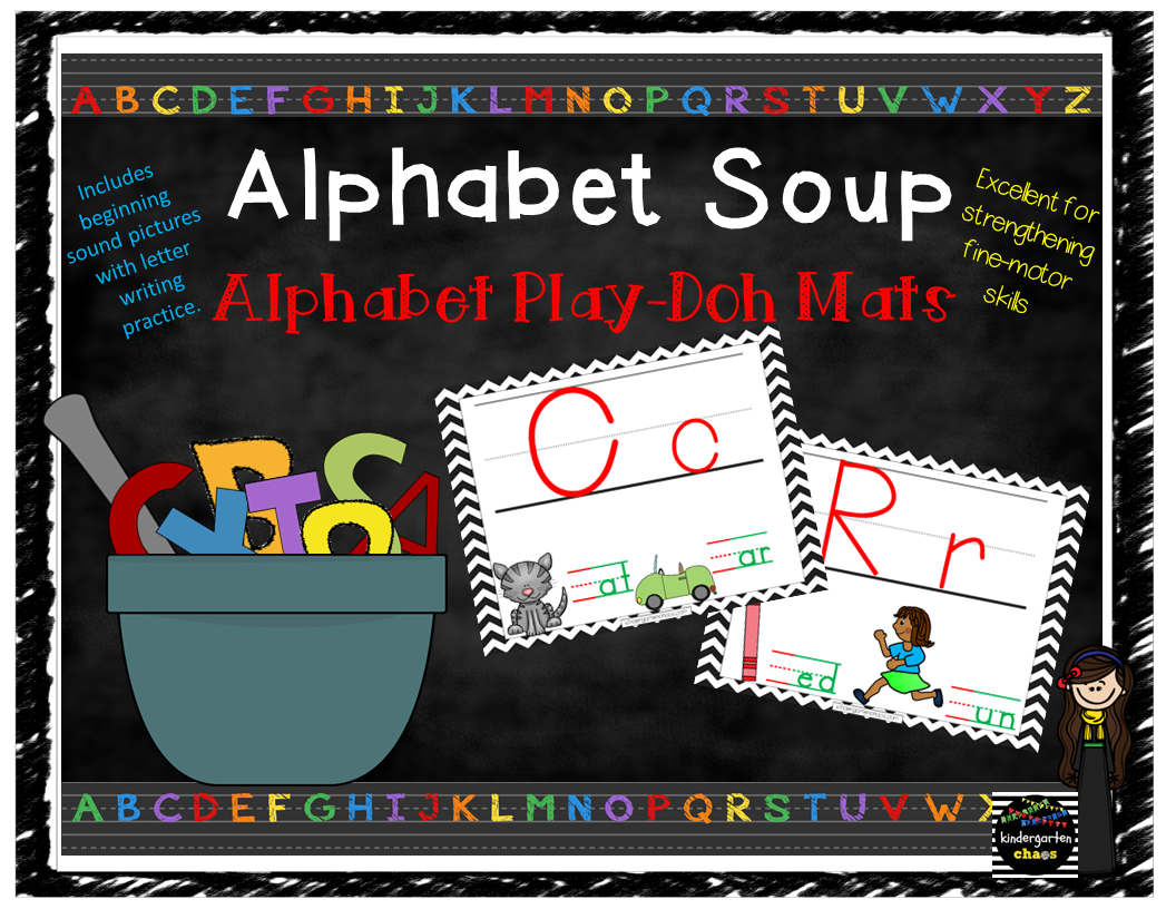 Alphabet Soup – Alphabet Play-Doh Mats with Beginning Sound Pictures