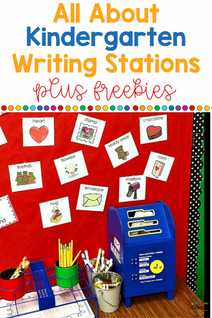 All about Writing Stations for the Kindergarten Classroom. These ideas and freebies are perfect for introducing new skills and continuing to teach your students.