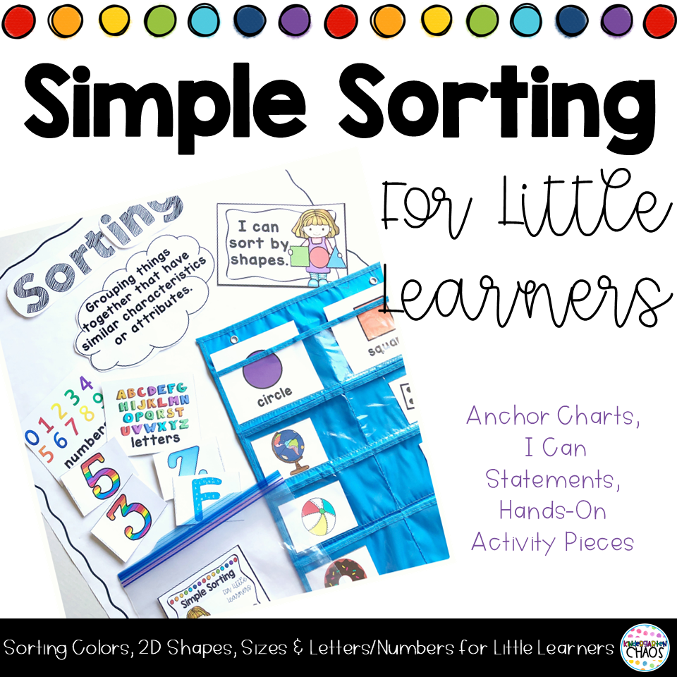 Simple Sorting Activities For Kindergarteners. This is perfect for week 2 lesson plans.