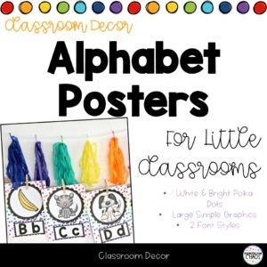 Alphabet Posters With Polka Dot Theme For Your Classroom & Literacy Stations in Kindergarten