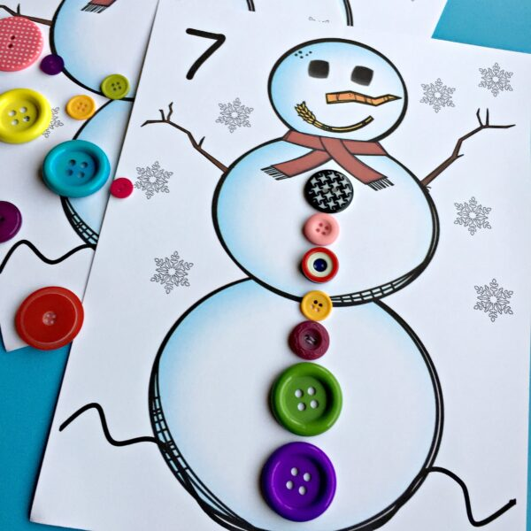 Snowman count and match. A free printable for kindergarten. #snowman #counting #freeprintable #kindergarten