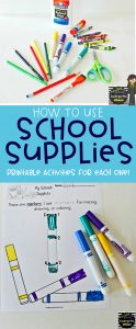 Printable Activities to help students learn and understand the correct way to use all of their school supplies. Includes scissors, glue, markers, etc. #kindergarten #preschool #firstgrade #schoolsupplies #backtoschool #classroomprocedures #classroommanagement #classroomorganization #teacherlife #printables