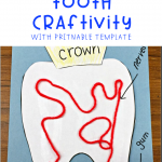 A Parts Of The Tooth Craftivity for dental health week in elementary school. Kids will enjoy labeling, gluing, cutting and more while learning about each part of the tooth. #kindergartenteacher #learningprintable #dentalhealthmonth #partsofatooth
