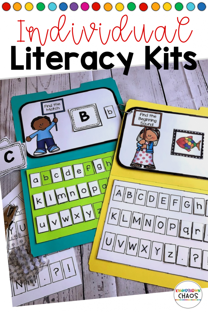 Individual Literacy Kits. 170+ Pages filled with literacy activities to help your kindergarteners thrive both in the classrom or with distance learning. #literacy #kindergartenteacher #kindergartenliteracy
