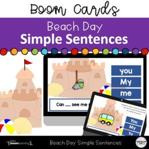 Beach Day SImple Sentences For Kindergarteners.