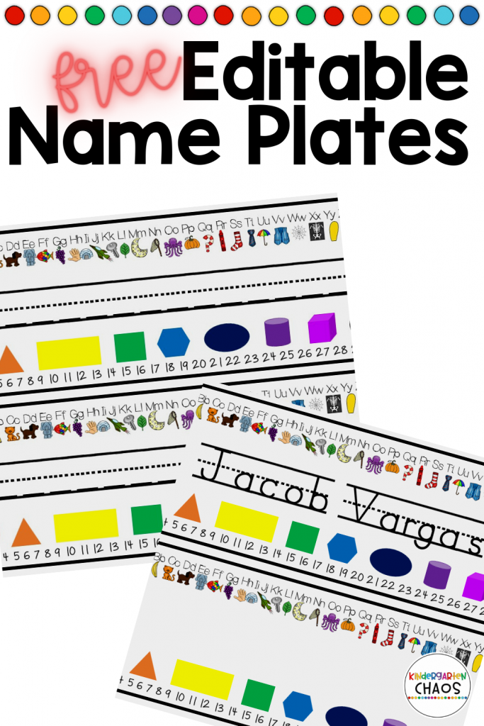 Editable Name Plates to easily help you teach your students how to read and write their name. These are simple prep and a fun way to help your students! Great for name tags on their desk or table too! #nameactivities #kindergarten #kindergartenteacher #backtoschool