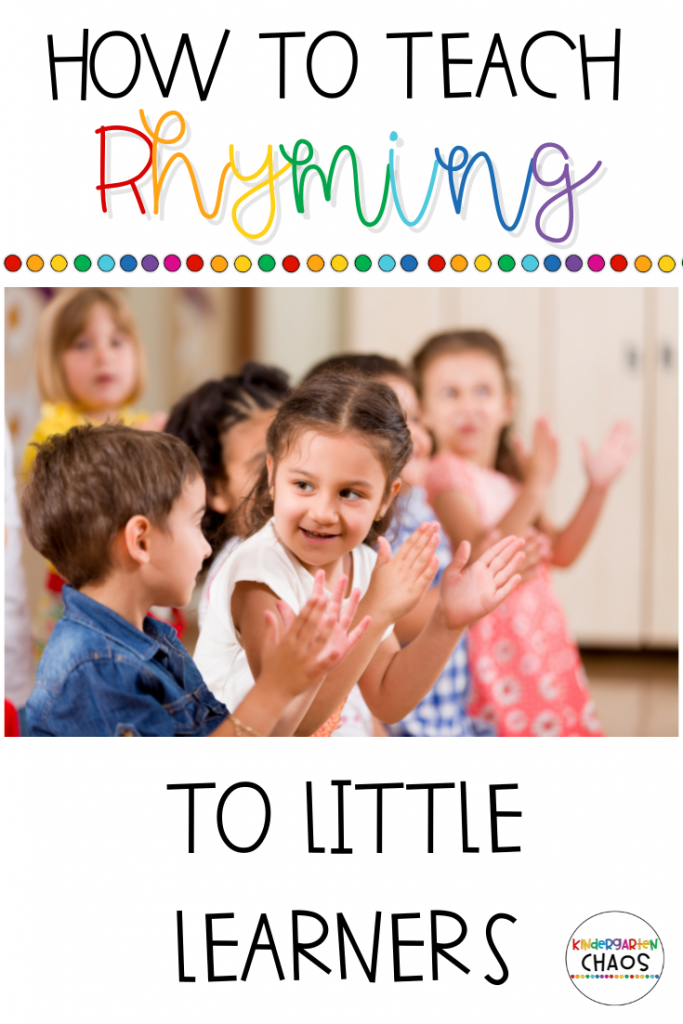 Ideas for Teaching Rhyming in Kindergarten. These ideas are tried and true from my classroom and how I taught my students. Including: printables, books, games, etc.