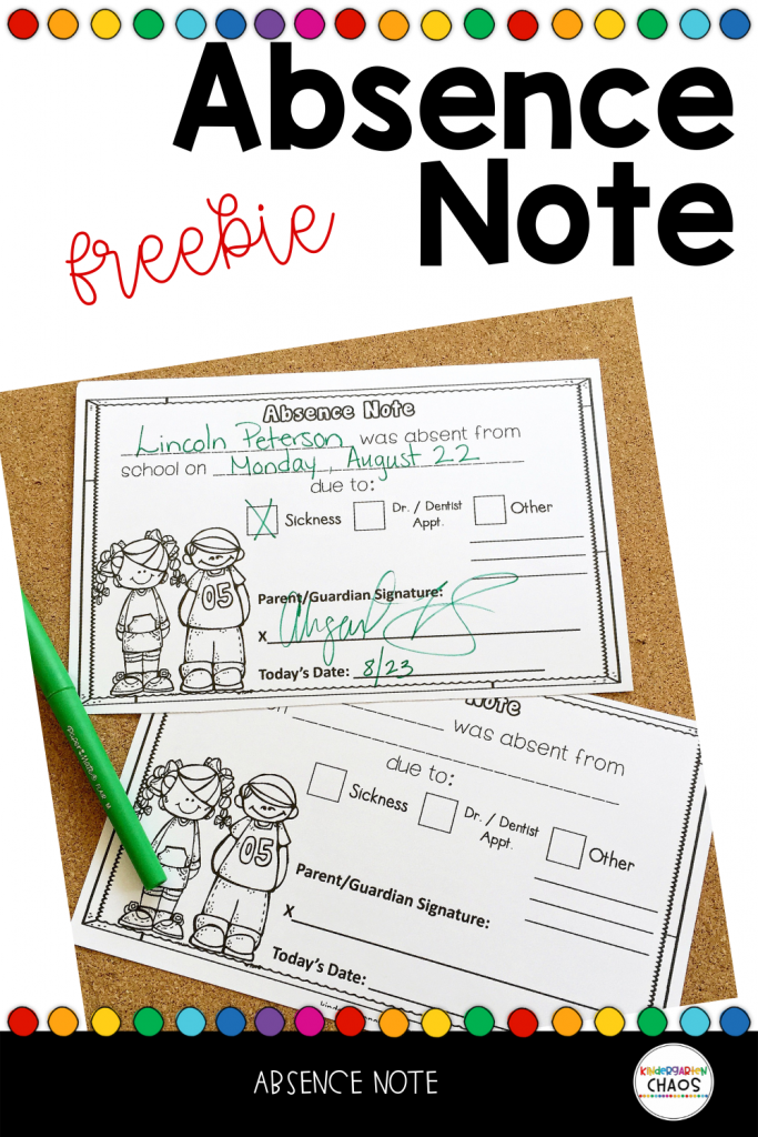 Free Printable Absence Note for parents to fill out when their students are absent. This is super helpful for getting information from your families that you need. #kindergarten #classroommanagement #kindergartenteacher